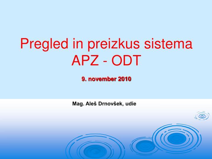 Pregled in preizkus sistema APZ - ODT