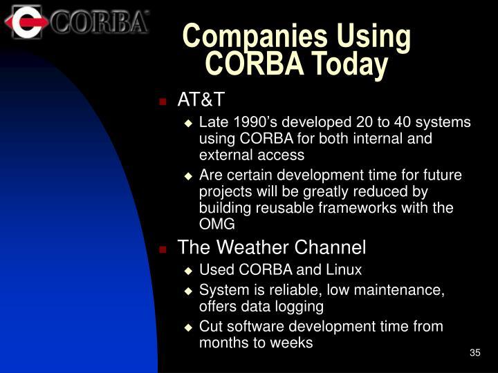 Companies Using CORBA Today