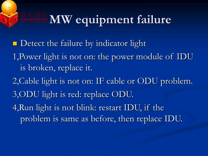 MW equipment failure
