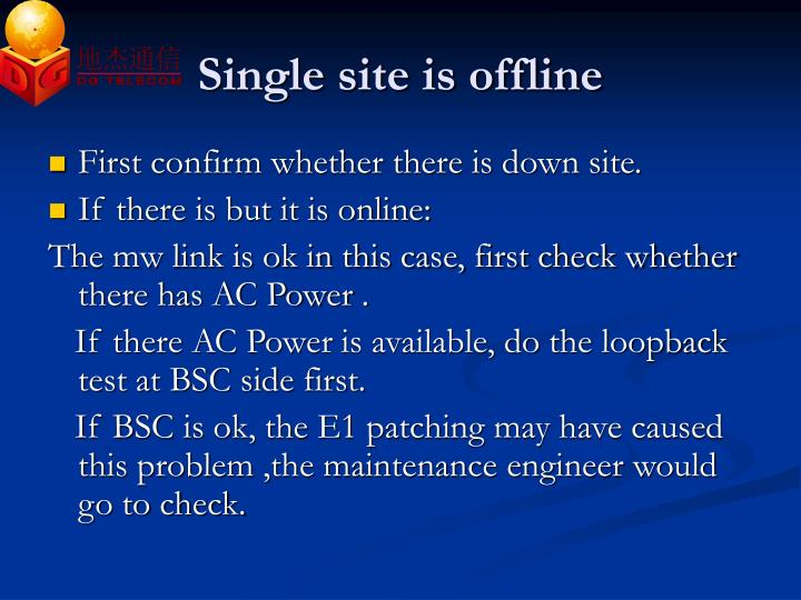 Single site is offline