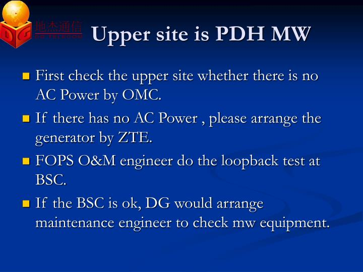 Upper site is PDH MW
