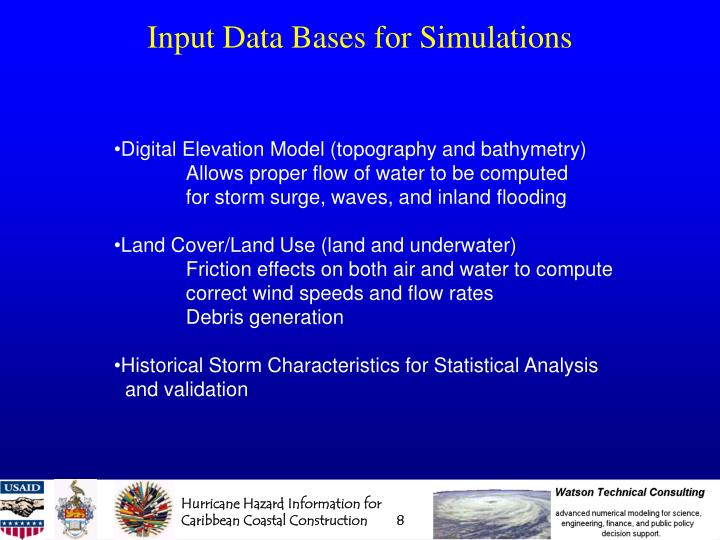 Input Data Bases for Simulations