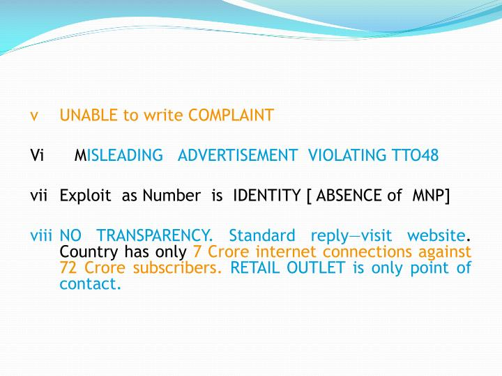 vUNABLE to write COMPLAINT