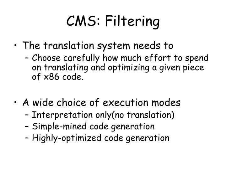 CMS: Filtering