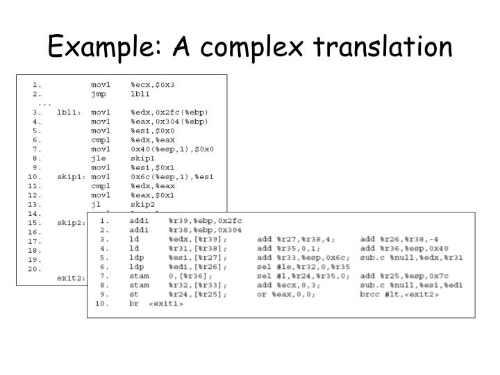 Example: A complex translation