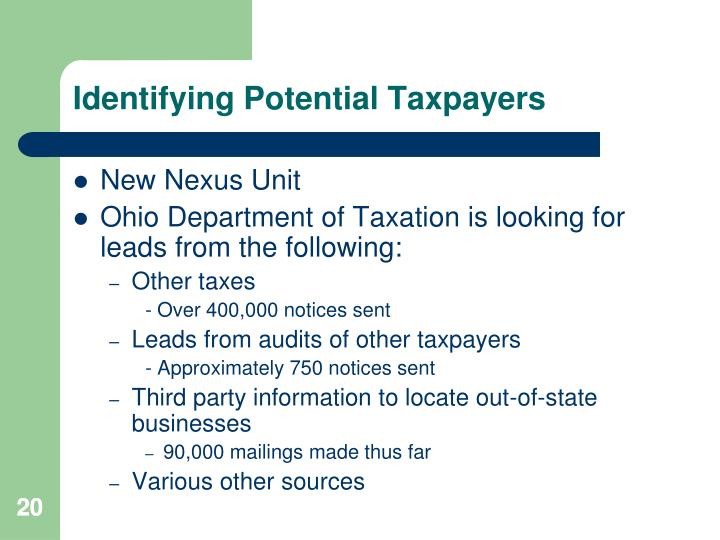 Identifying Potential Taxpayers