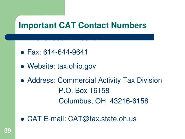 Important CAT Contact Numbers