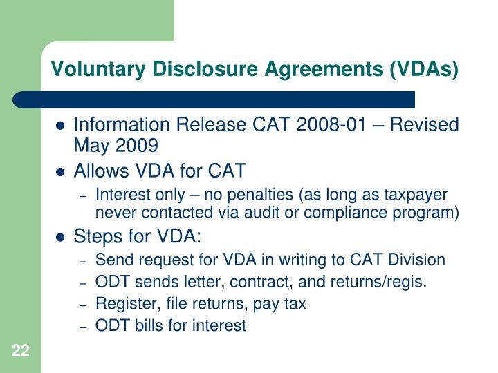 Voluntary Disclosure Agreements (VDAs)