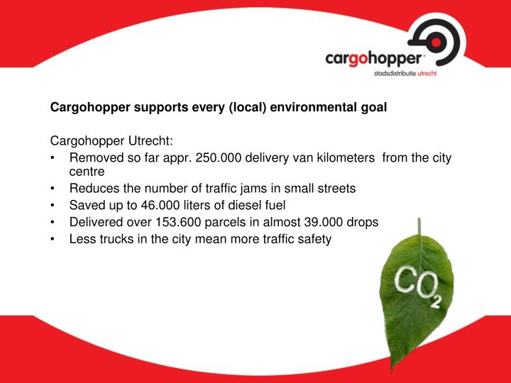 Cargohopper supports every (local) environmental goal