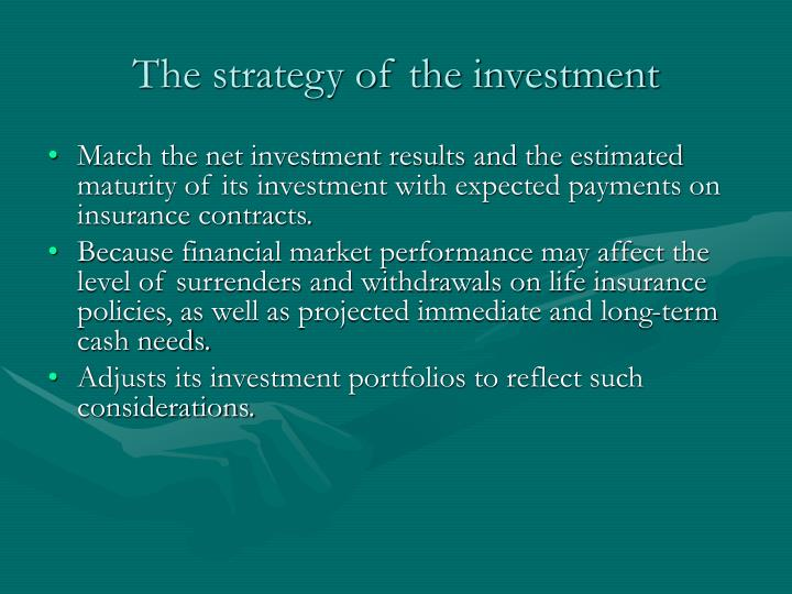 The strategy of the investment