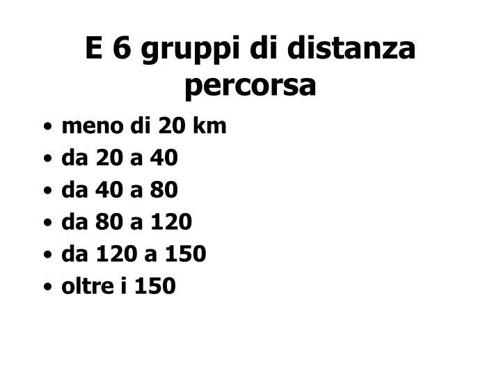 E 6 gruppi di distanza percorsa