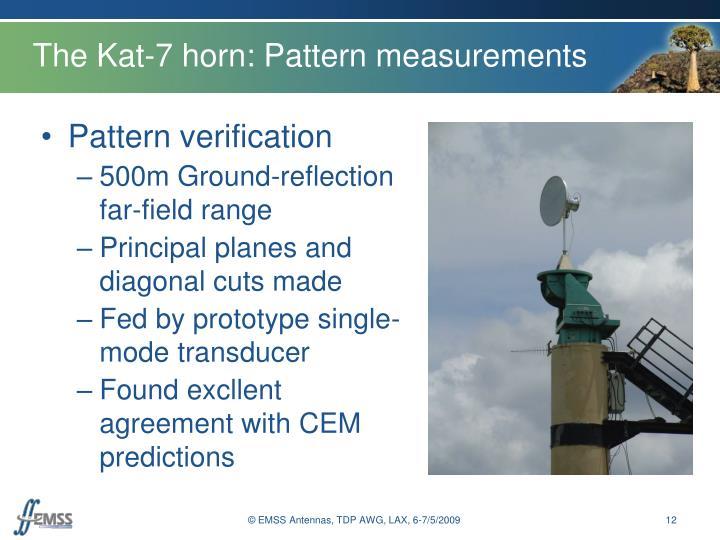 The Kat-7 horn: Pattern measurements