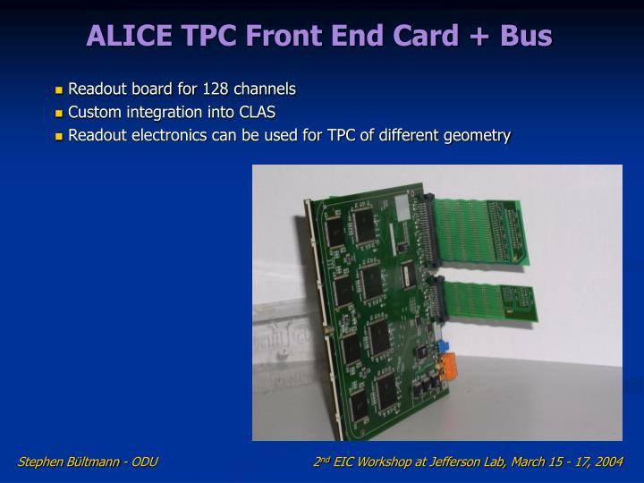 ALICE TPC Front End Card + Bus