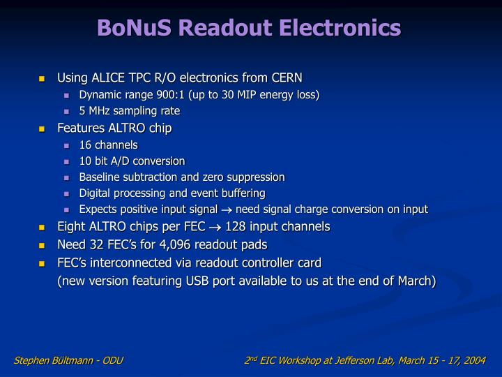 BoNuS Readout Electronics