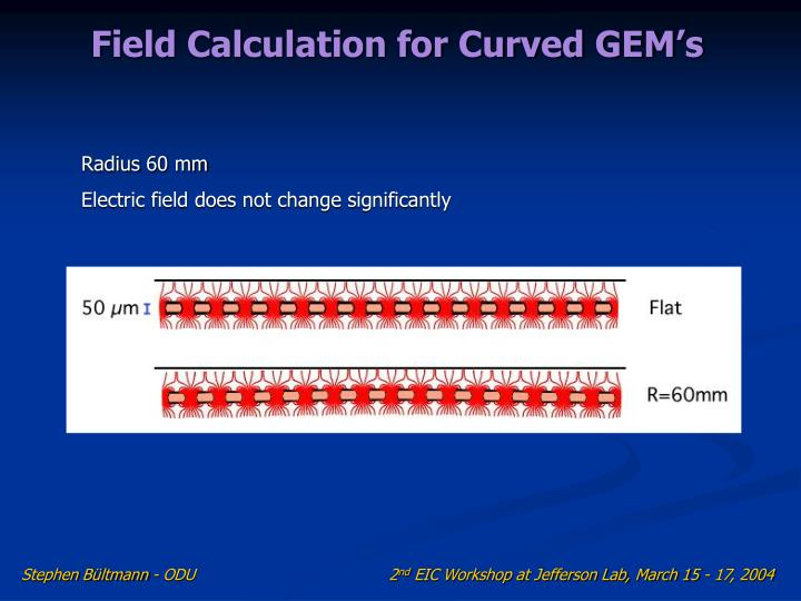 Field Calculation for Curved GEM's