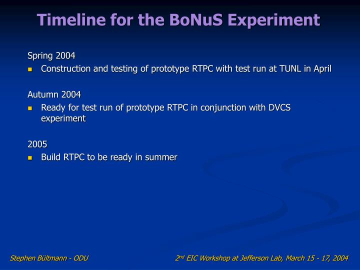 Timeline for the BoNuS Experiment