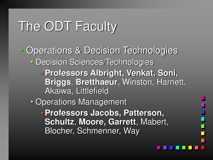 The ODT Faculty