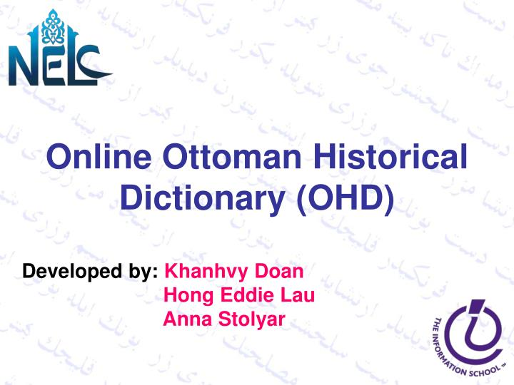 Online Ottoman Historical Dictionary (OHD)