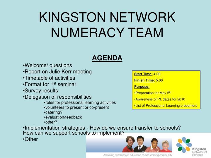 KINGSTON NETWORK NUMERACY TEAM