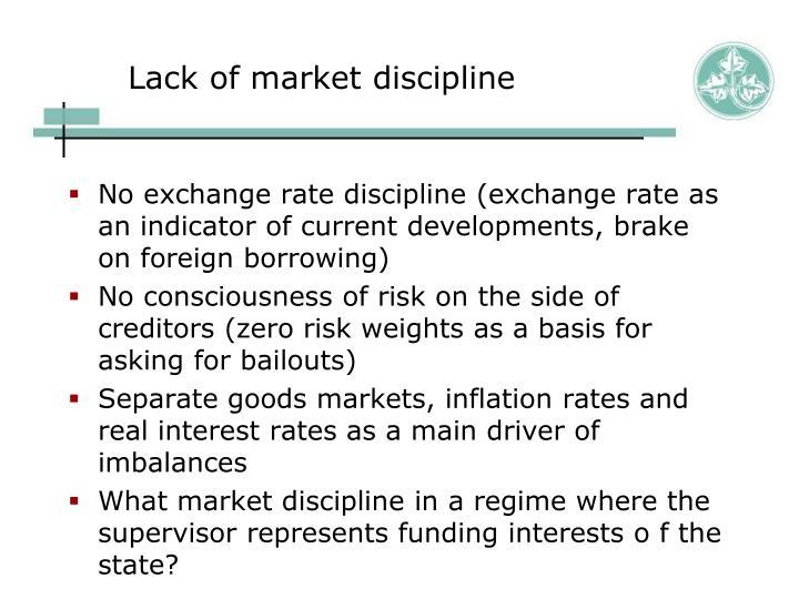 Lack of market discipline