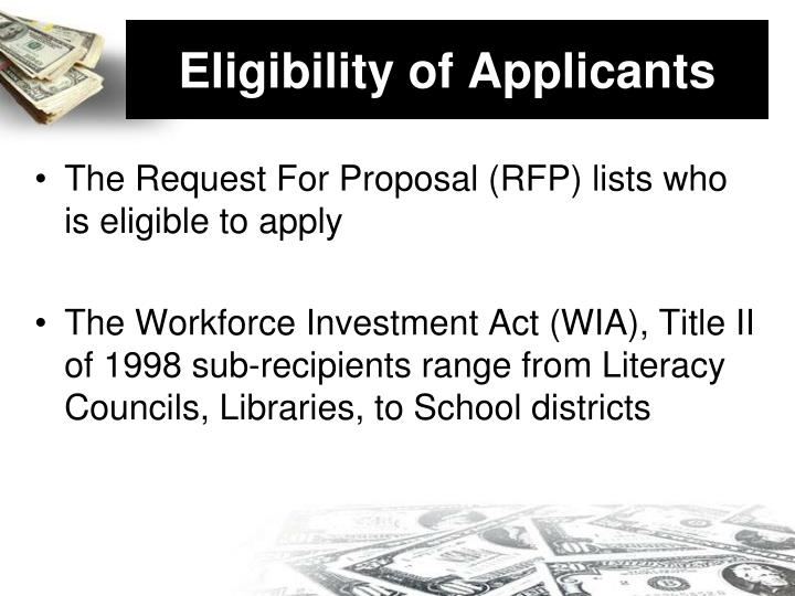 Eligibility of Applicants