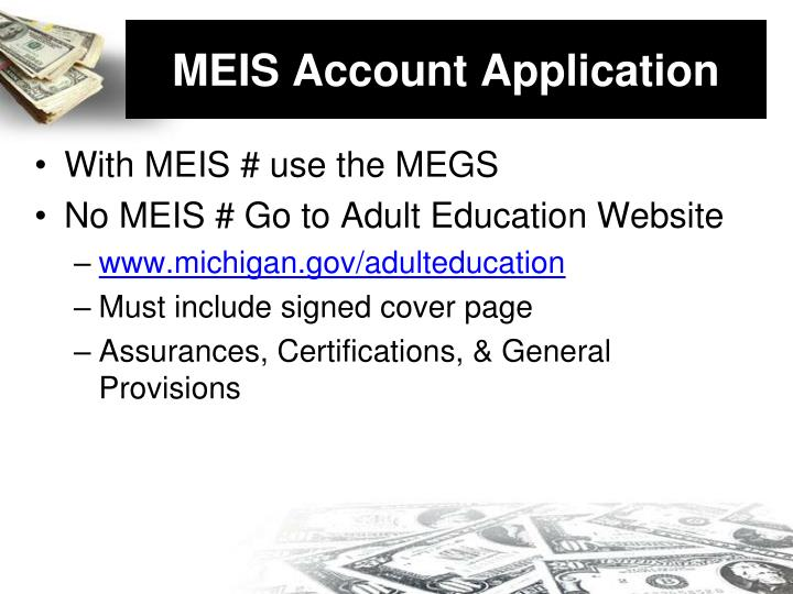 MEIS Account Application
