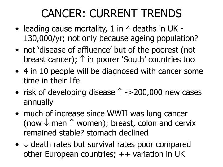 CANCER: CURRENT TRENDS