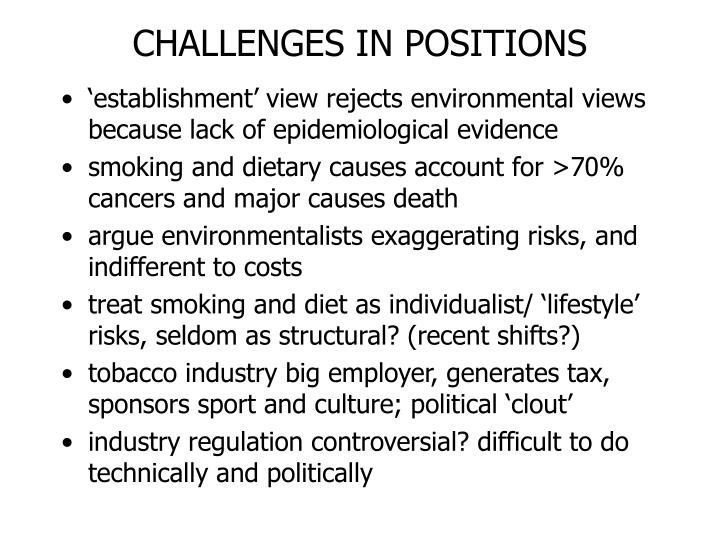 CHALLENGES IN POSITIONS