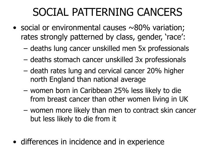SOCIAL PATTERNING CANCERS