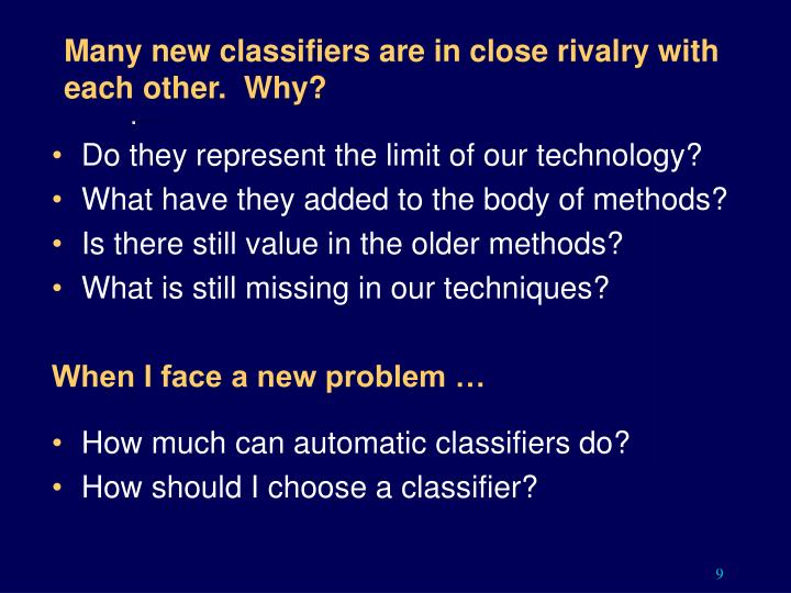 Many new classifiers are in close rivalry with each other.  Why?