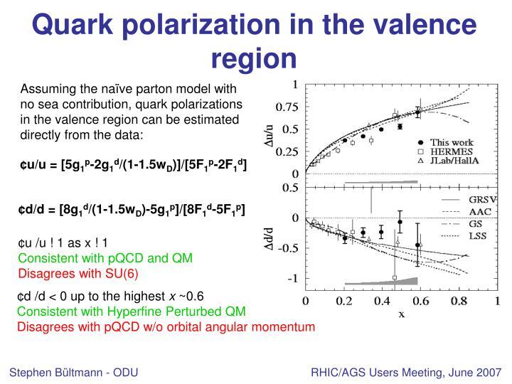 Quark polarization in the valence region