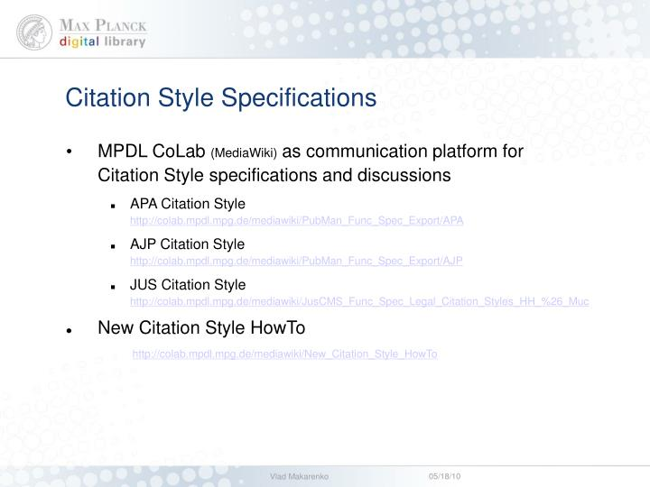 Citation Style Specifications