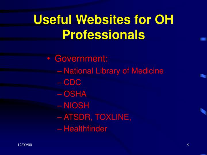 Useful Websites for OH Professionals