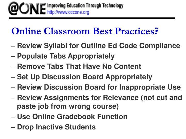 Online Classroom Best Practices?