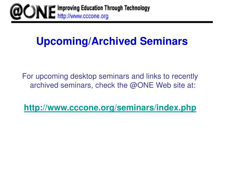 Upcoming/Archived Seminars