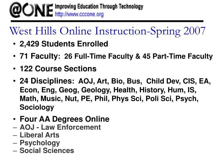 West Hills Online Instruction-Spring 2007