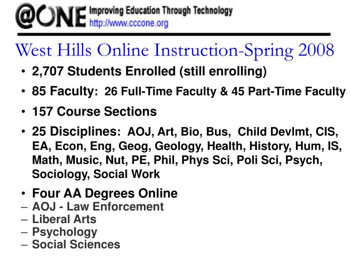 West Hills Online Instruction-Spring 2008