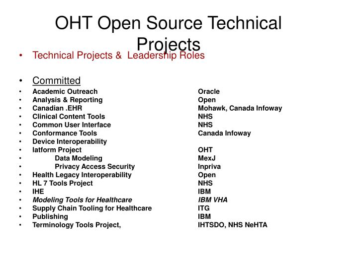 OHT Open Source Technical Projects