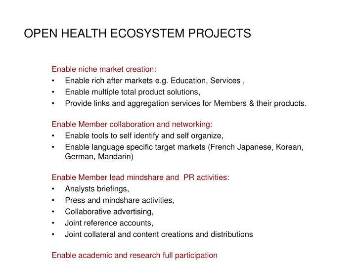 OPEN HEALTH ECOSYSTEM PROJECTS