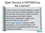 open source is defined by the license