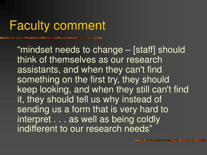 Faculty comment