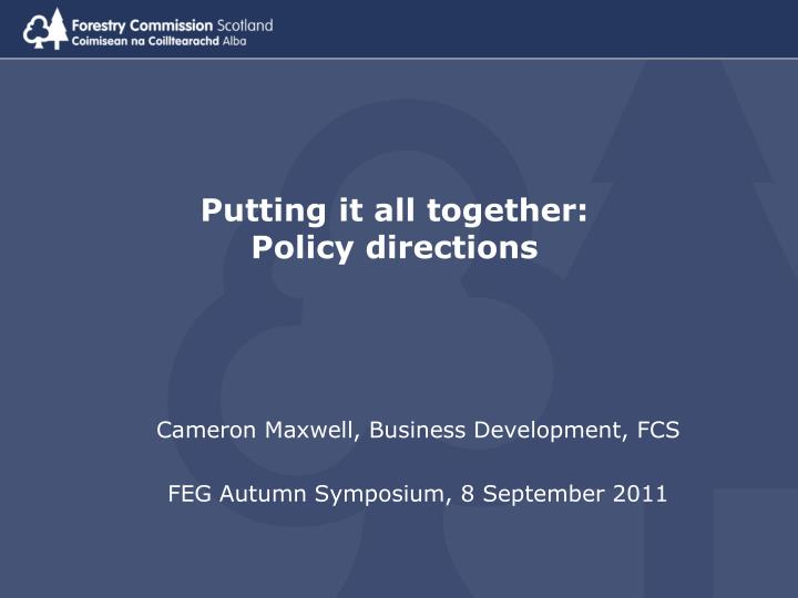 Putting it all together policy directions