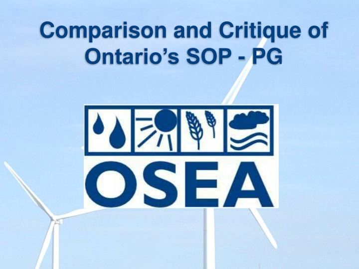 Comparison and Critique of Ontario's SOP - PG