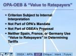 opa oeb value to ratepayers