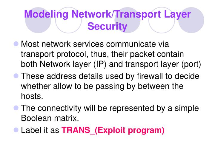 Modeling Network/Transport Layer Security