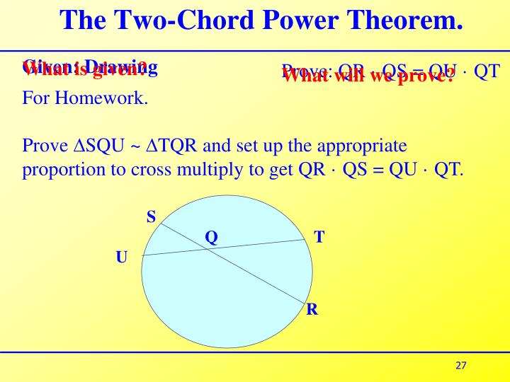The Two-Chord Power Theorem.