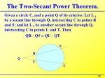 the two secant power theorem