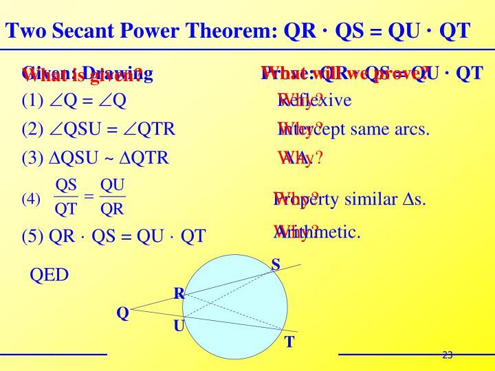 Two Secant Power Theorem: QR
