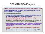 cpc ctb risa program