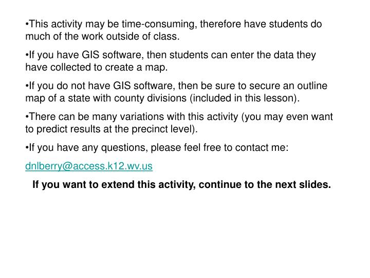 This activity may be time-consuming, therefore have students do much of the work outside of class.